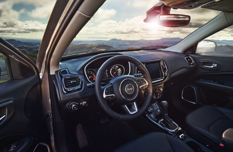 Steering wheel and centre console of 2020 Jeep Compass