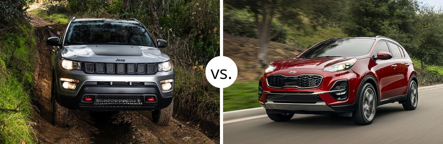 Jeep Compass and Kia Sportage models in comparison photo