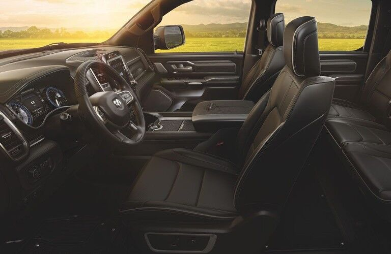 Front two seats and steering wheel of 2020 RAM 1500