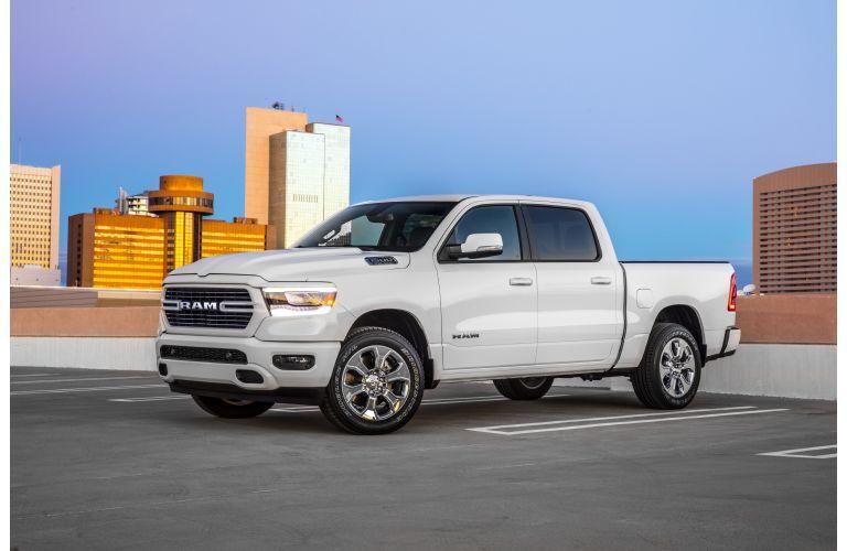 2020 RAM 1500 Big Horn white parked high on parking garage