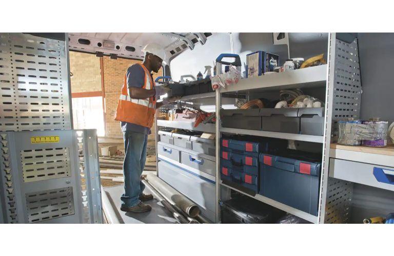 2020 RAM ProMaster interior with shelving upfit