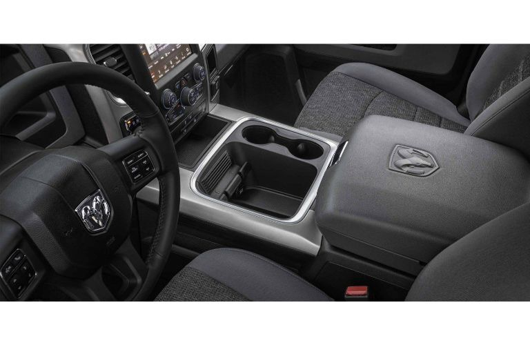 2020 Ram 1500 Classic interior center console cupholders and steering wheel