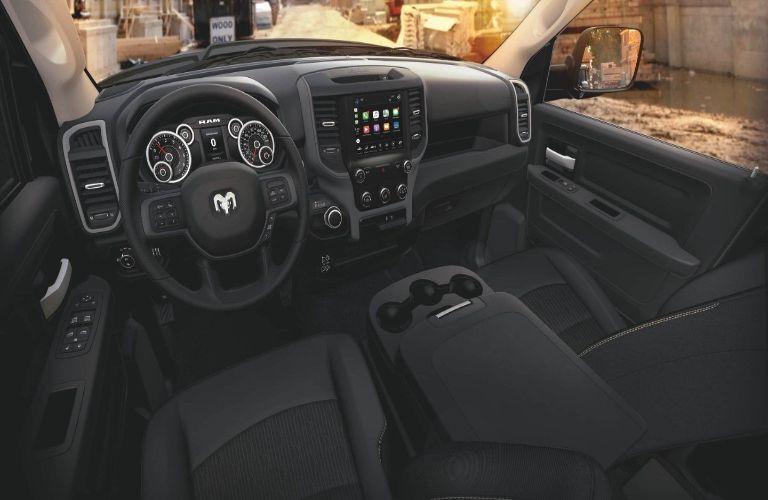 2020 Ram 2500 interior shot over driver seat headrest
