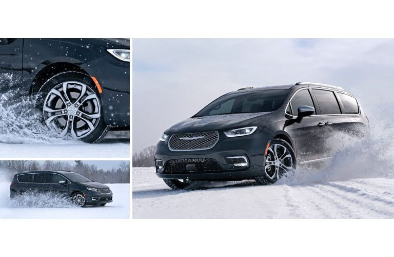 2021 Chrysler Pacifica collage showing can driving through snow