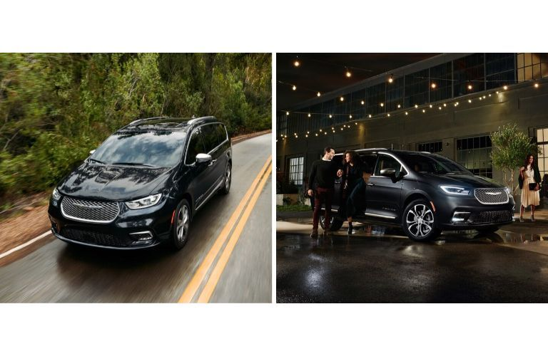 2021 Chrysler Pacifica collage with black van driving and parked