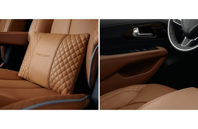 2021 Chrysler Pacifica interior collage with leather pillow