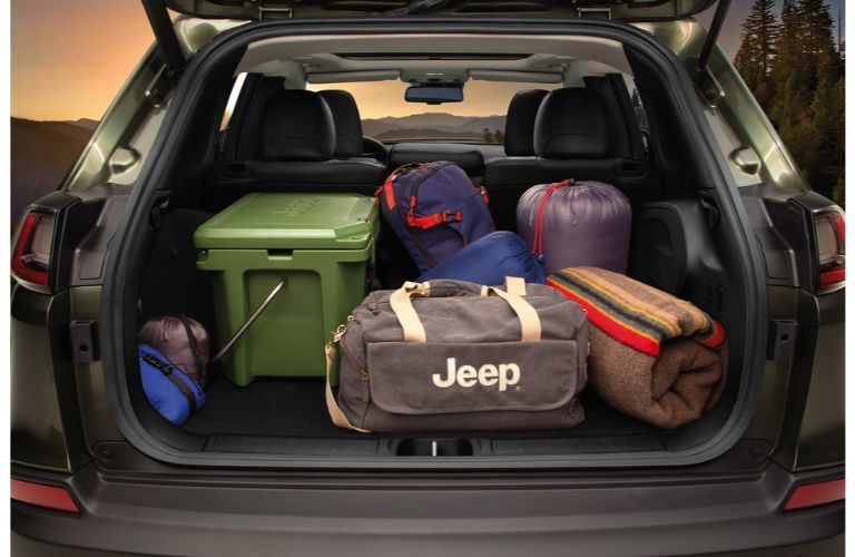 2021 Jeep Cherokee back end loaded up with luggage