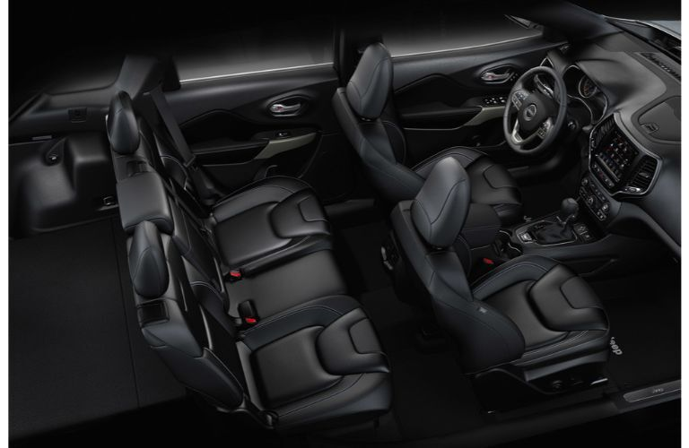 2021 Jeep Cherokee interior overhead view black leather