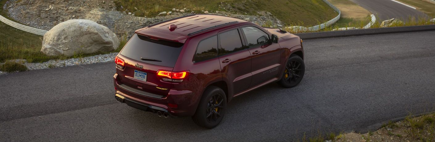 2021 Jeep Grand Cherokee semi overhead with red taillights