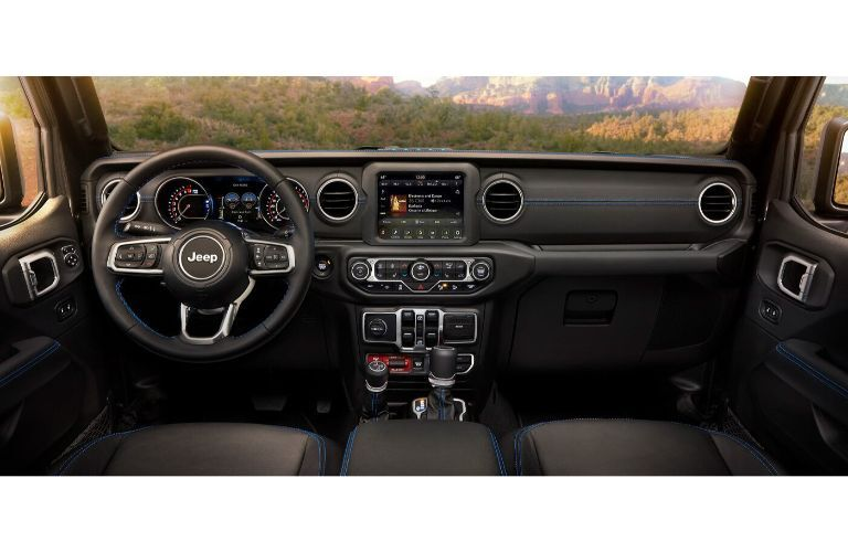 2021 Jeep Wrangler 4xe interior wide view of front cabin