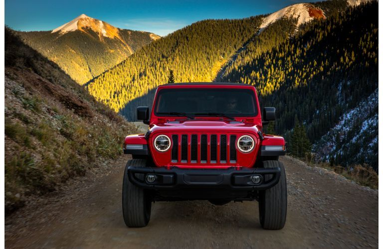 2021 Jeep Wrangler Rubicon red facing head on