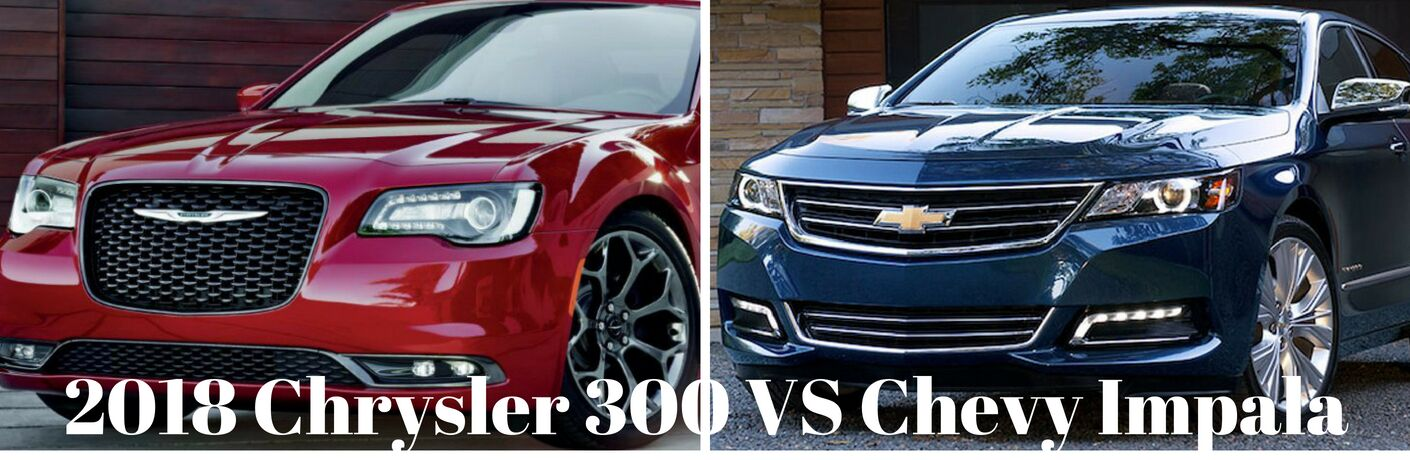 on the left a Chrysler 300 and a Chevy Impala on the right