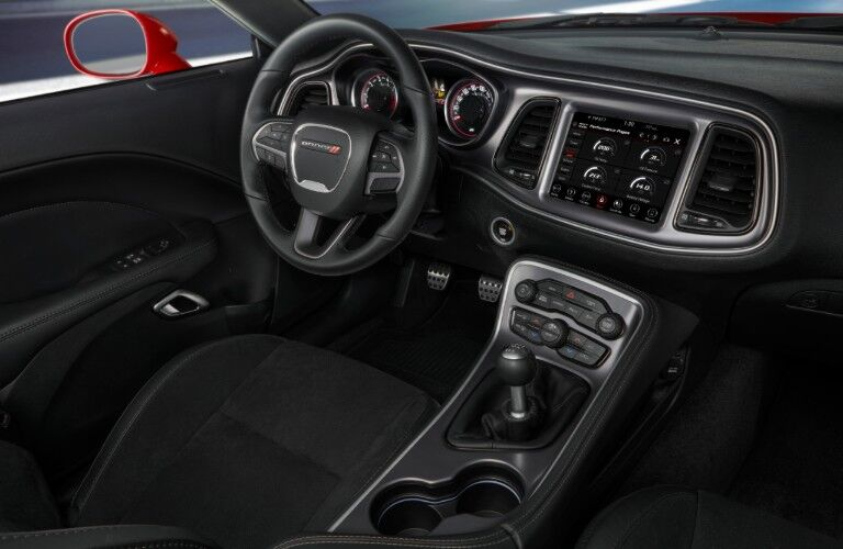 2020 Dodge Challenger interior showing steering wheel front cabin and shifter