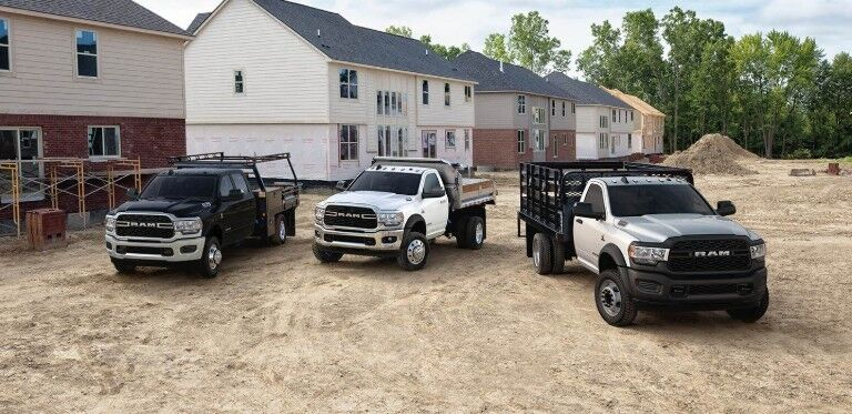 three 2019 Ram 5500 Chassis parked by each other