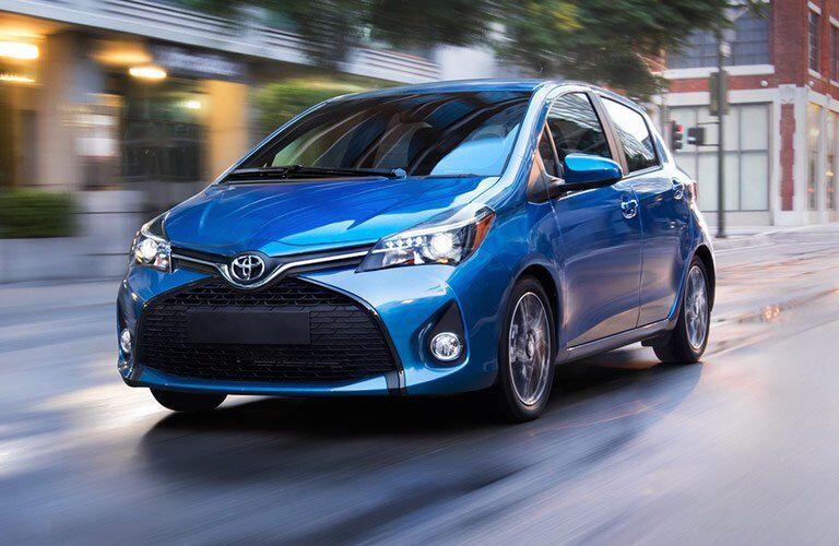 blue Toyota Yaris hatchback