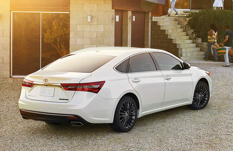 "2018 Toyota Avalon rear exterior shot with dual exhaust and 18"" wheels in Lexington, MA"