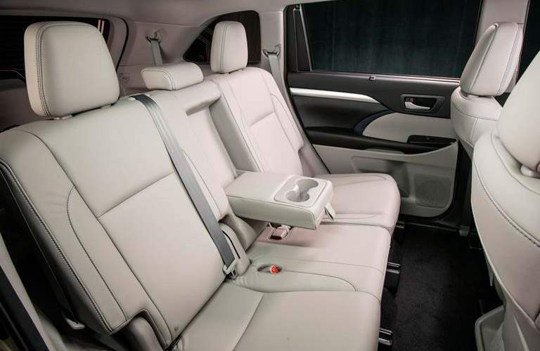 2018 Toyota Highlander Hybrid interior rear seats.