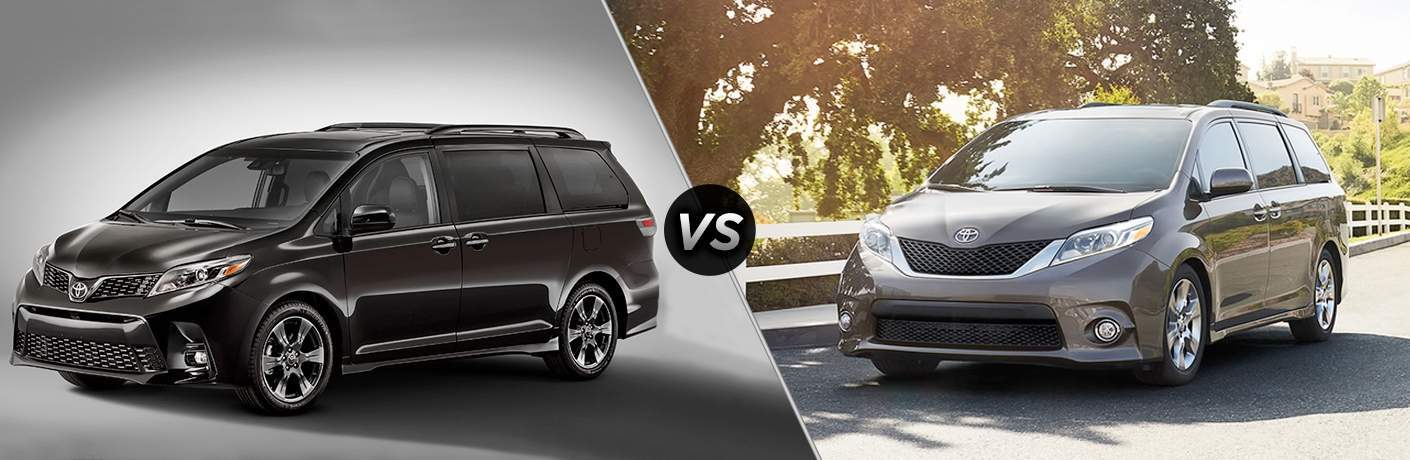 2018 Toyota Sienna and 2017 Toyota Sienna with VS between them