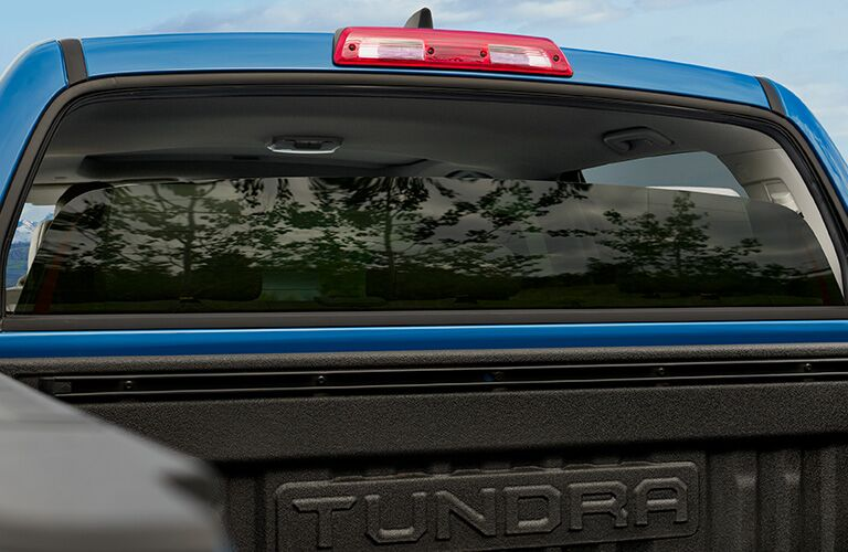 back window of blue 2020 Toyota Tundra