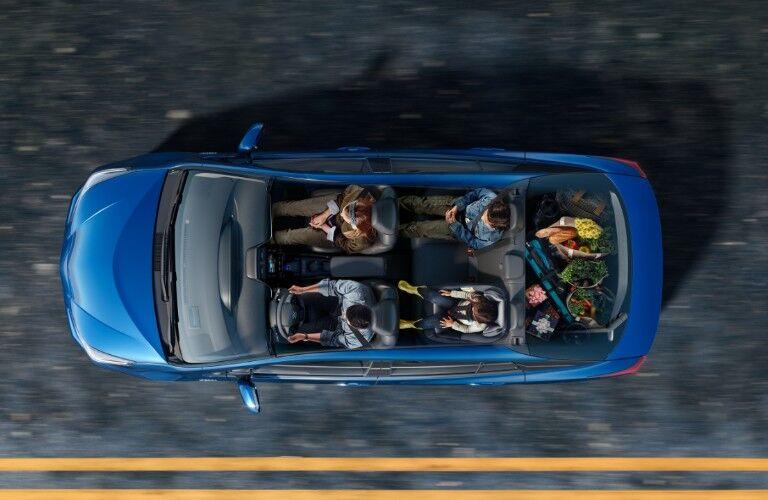 bird's eye view of blue 2020 Toyota Prius