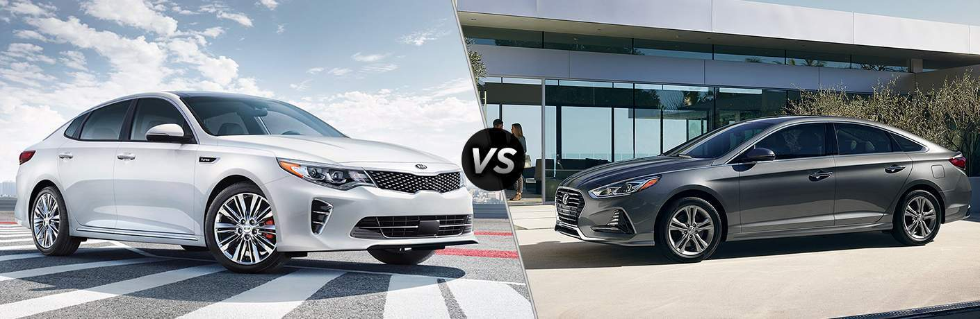 2018 Kia Optima parked on asphalt vs 2018 Hyundai Sonota driving by a glass house