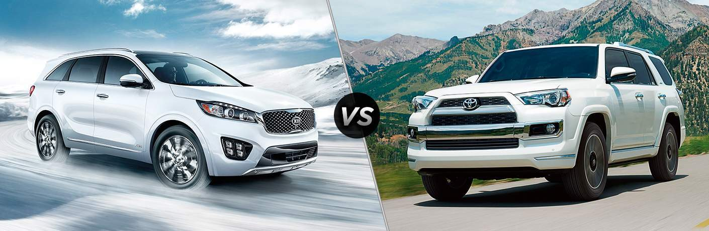 2018 Kia Sorento driving on an icy road vs 2018 Toyota 4Runner on a country road with a mountain in the background