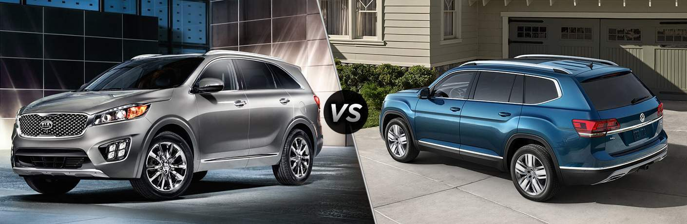 2018 Kia Sorento in a room with dark and light checkered walls vs 2018 Volkswagen Atlas Parked in front of a garage