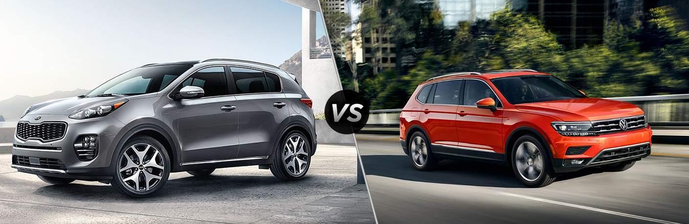 2018 Kia Sportage driver's side front profile vs 2018 Volkswagen Tiguan passenger side front profile