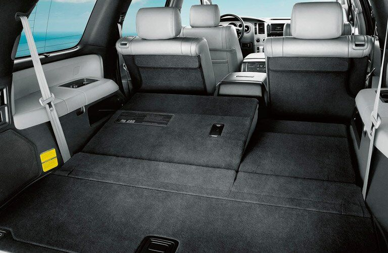 2017 Toyota Sequoia interior view of folded back row seats