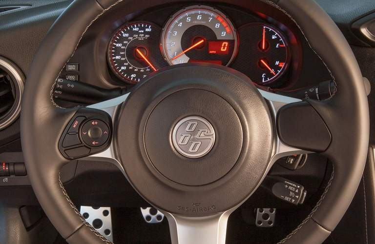 Close up of 2018 Toyota 86 steering wheel