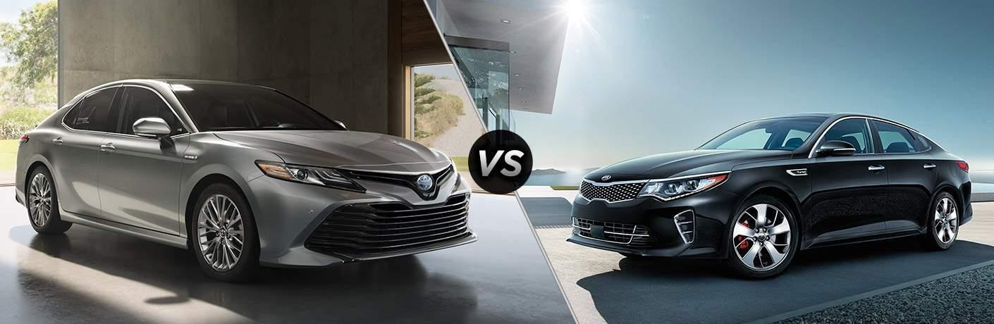 2018 Toyota Camry in gray vs 2018 Kia Optima in black