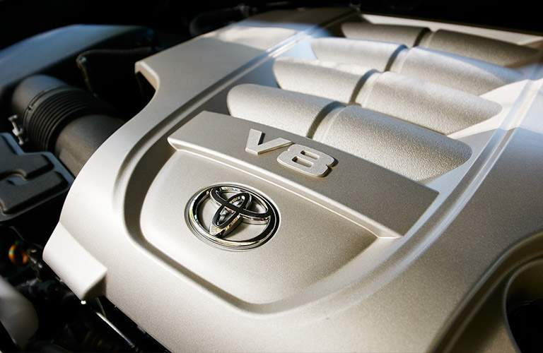Close up of 2018 Toyota Land Cruiser V8 engine
