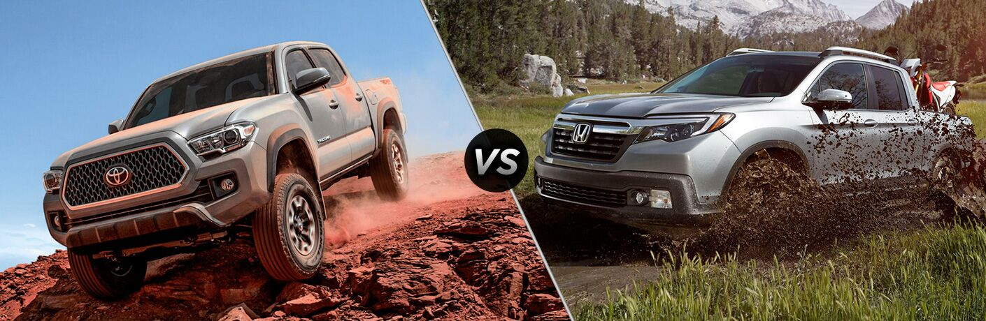 A side-by-side comparison photo of the 2018 Toyota Tacoma vs. 2018 Honda Ridgeline going through the mud.