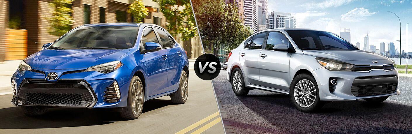 A side-by-side comparison of the 2018 Toyota Corolla vs. 2018 Kia Rio.
