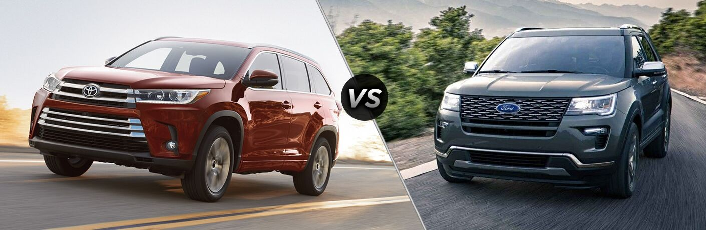 Another side-by-side comparison of the 2018 Toyota Highlander vs. 2018 Ford Explorer.