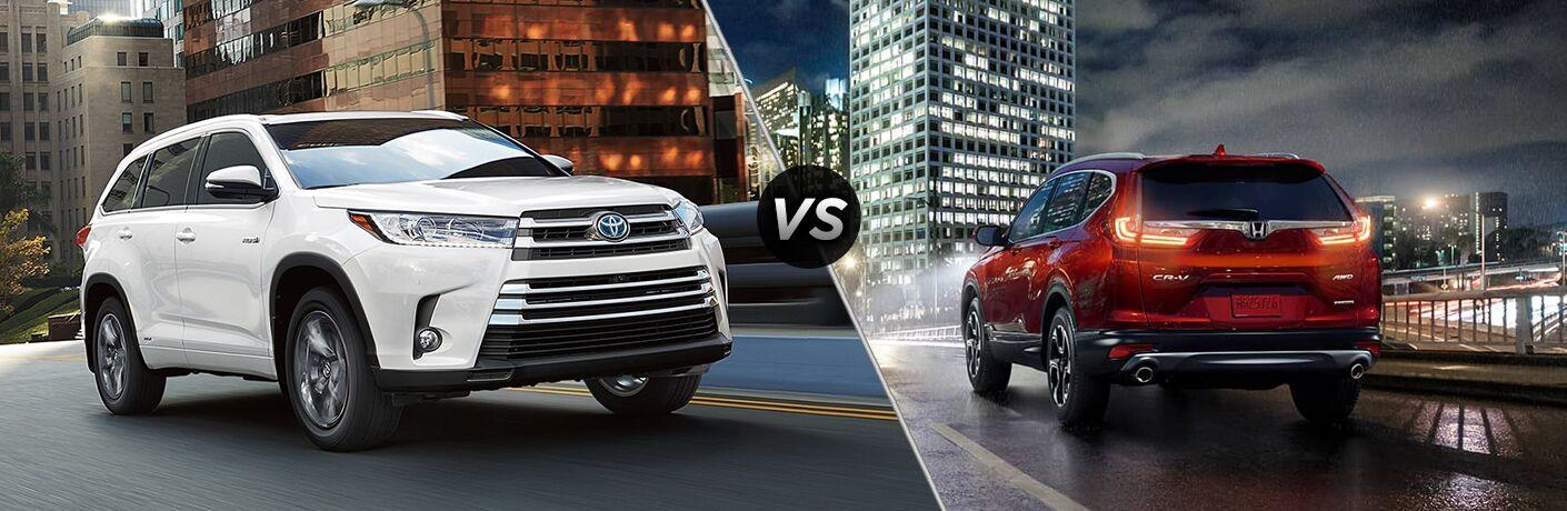 A side-by-side comparison of the 2018 Toyota Highlander vs. 2018 Honda CR-V.