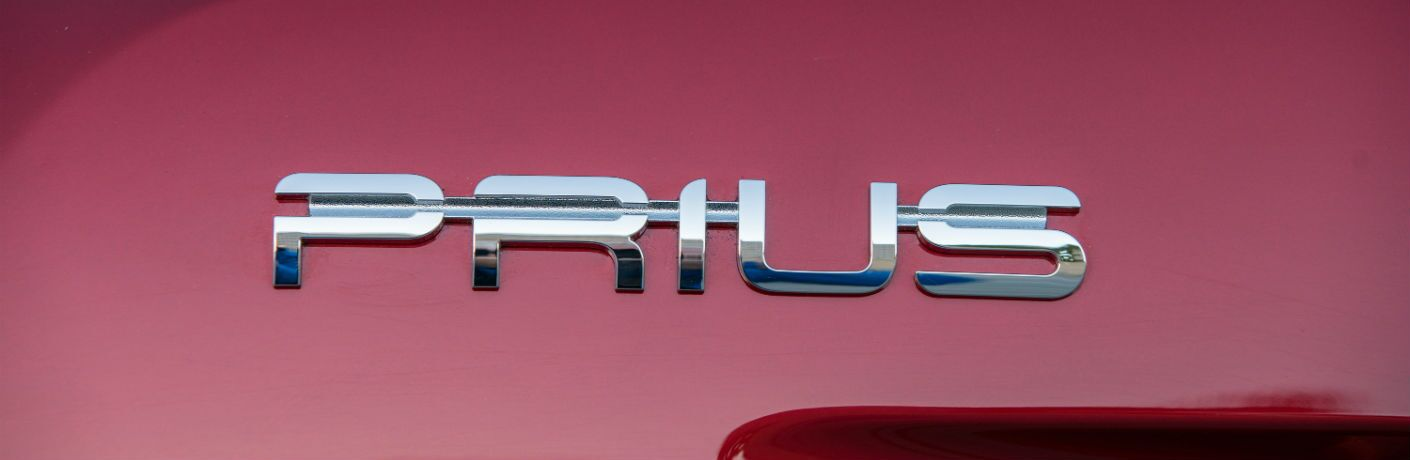 A close up photo of the Prius badge used on the 2018 Toyota Prius.
