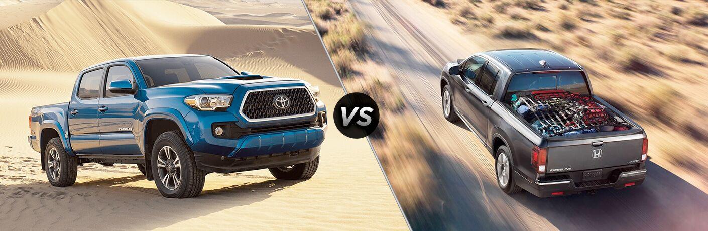 A head-to-head comparison photo of the 2018 Toyota Tacoma vs. 2018 Honda Ridgeline