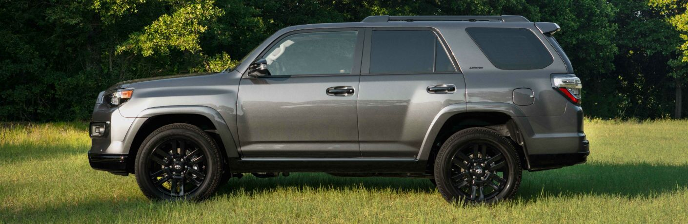 A left profile photo of the 2019 Toyota 4Runner parked in a field.
