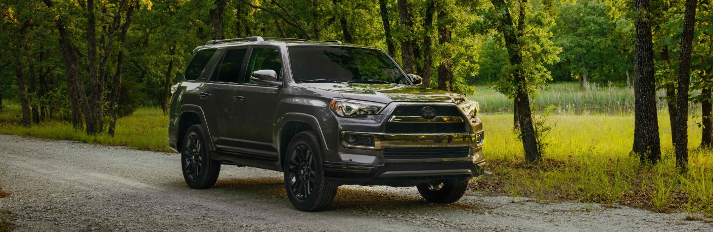 A front right quarter photo of the 2019 Toyota 4Runner parked on a gravel road.