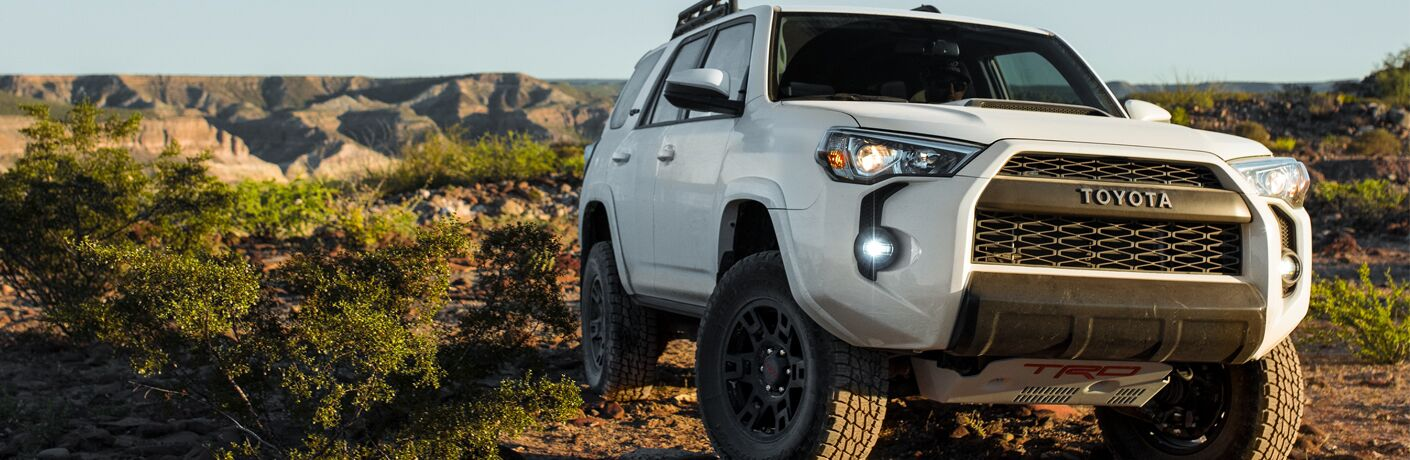 A front-end photo of the 2019 Toyota 4Runner parked on a trail.