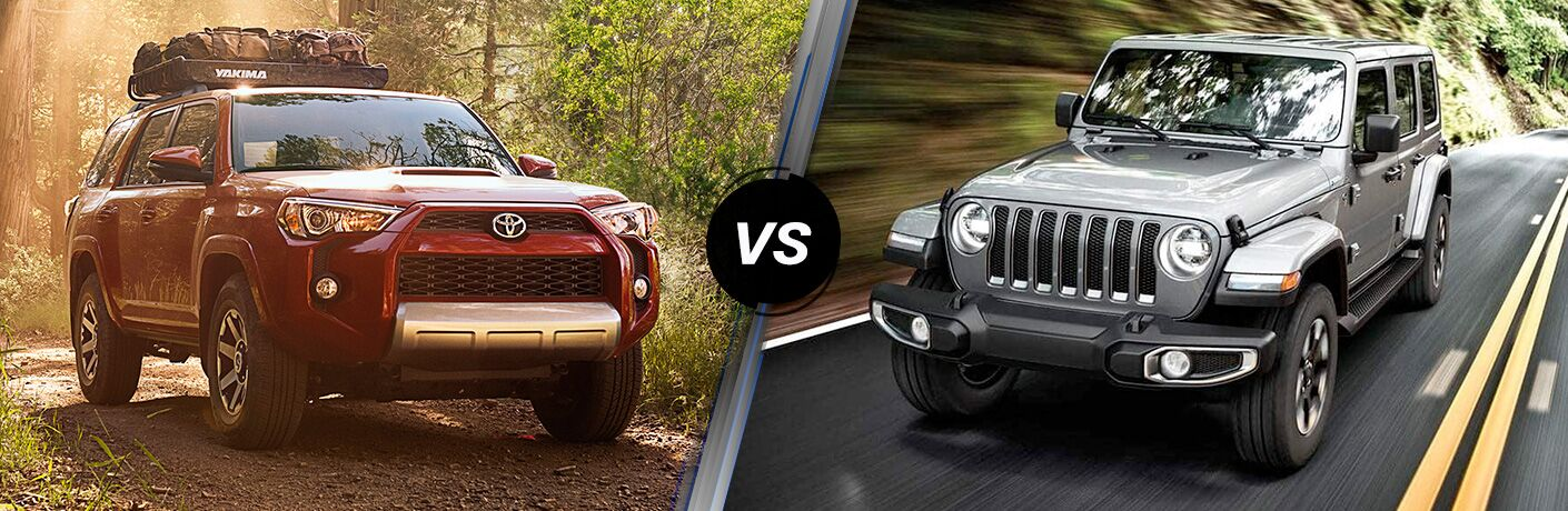 A side-by-side comparison of the 2019 Toyota 4Runner vs. 2019 Jeep Wrangler.