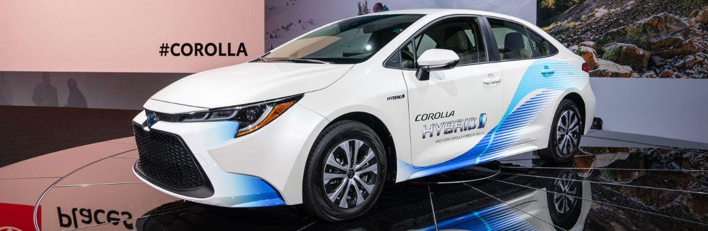 A photo of the 2020 Toyota Corolla Hybrid at its debut presentation at the Los Angeles Auto Show.