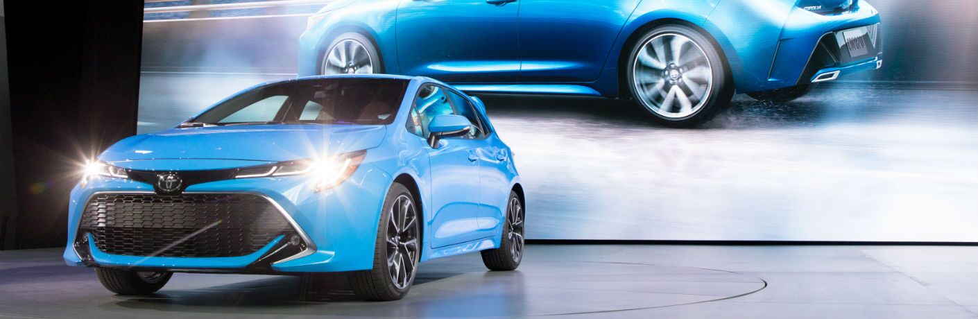 A front end photo of the 2019 Toyota Corolla Hatchback on display in New York.