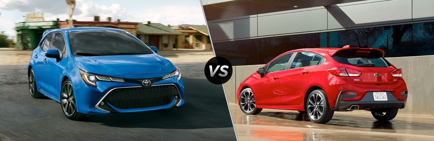A side-by-side comparison of the 2019 Corolla Hatchback vs. 2019 Chevy Cruze Hatch.
