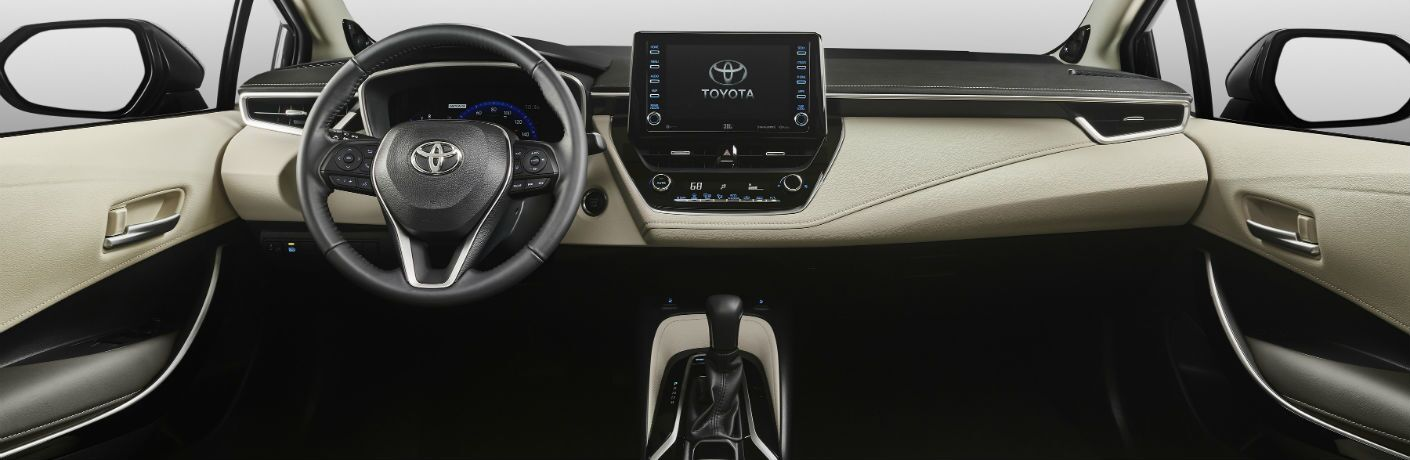 A photo of the dashboard in the 2020 Toyota Corolla.