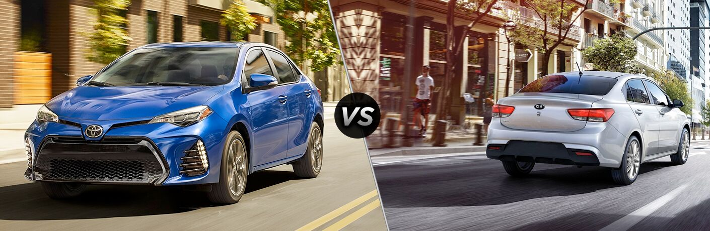A side-by-side comparison of the 2019 Toyota Corolla vs. 2018 Kia Rio.