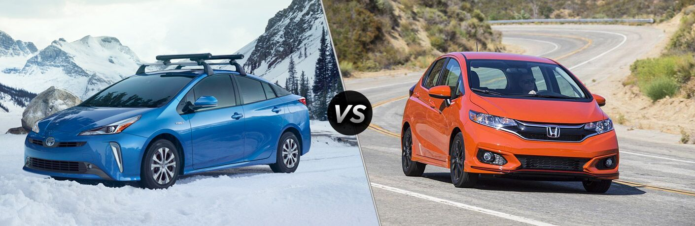 A side-by-side comparison of the 2019 Toyota Prius vs. 2019 Honda Fit.
