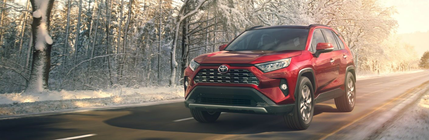 A front left quarter photo of the 2019 Toyota RAV4 on the road.