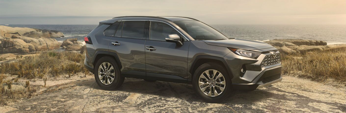 A right profile photo of the 2019 Toyota RAV4 parked on some rocks.